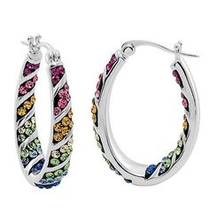 Rainbow Hoop Crystal Earrings