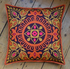 Purple and orange original design 'Parvati' cushion with comfy filler included Indian Block Print, Colored Highlights, Purple Backgrounds, Hand Stitching, How To Draw Hands, 21st, Cushions, Comfy, Throw Pillows