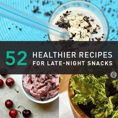52 Healthier Alternatives to Late-Night Snacks. I love to late night snack Healthy Late Night Snacks, Healthy Treats, Healthy Food, Savory Snacks, Healthy Eating, Snack Recipes, Healthy Recipes, Snacks Ideas, Meal Ideas