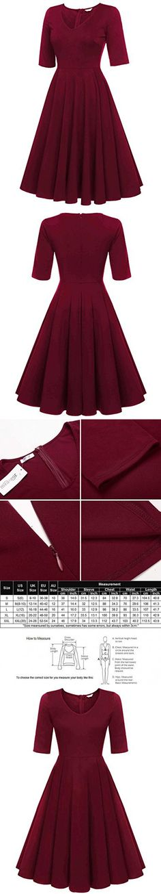 Meaneor Womens Vintage Floral Printed Long Sleeve Tea Dress Plus Size, Burgandy/XL