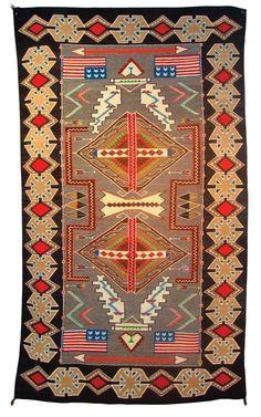 "Navajo Pictorial Teec Nos Pos Rug, circa 1950. 103""x58"". Sold at auction for ten thousand dollars. Gorgeous!"