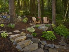 Image result for landscaping uneven ground wooded