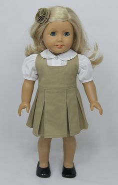 American Girl Doll school uniform with white by dollpetitecouture, $32.00