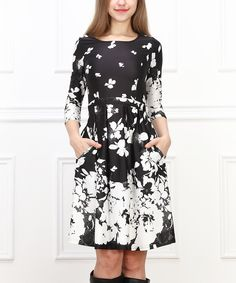 This Reborn Collection Black & White Floral Pleated Dress by  is perfect! #zulilyfinds