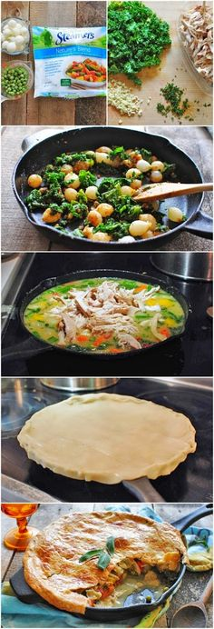 "Cast-Iron Skillet Chicken Pot Pie - Recipe calls for Pillsbury pie crust. Simply use their gluten free one! (and gf ap flour) I made this and it was good! Not as good as my Grandma makes but she doesn't have a clue what ""Gluten-Free"" is. Lol"