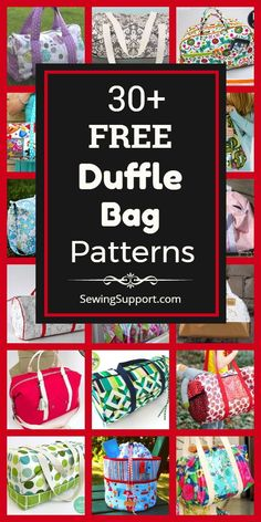 Duffle Bag Patterns, Bag Patterns To Sew, Sewing Patterns Free, Free Sewing, Quilt Patterns, Free Pattern, Diy Duffle Bag, Tote Bag, Serger Sewing