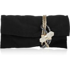 Jimmy Choo Chandra chain-embellished silk-faille clutch ($1,085) ❤ liked on Polyvore featuring bags, handbags, clutches, purses, bolsas, bolsos, silk handbags, chain purse, jimmy choo and hand bags