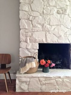 White paint colors and Stone fireplaces
