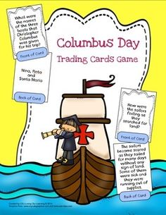 """Here's a fun and engaging way for your students to practice what they are learning about Christopher Columbus! Simply copy, cut out the """"trading cards"""" and fold them in half. Now you are ready for a whole class game similar to the Kagan Quiz, Quiz, Trade structure."""