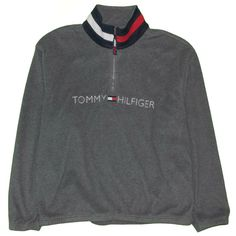 9c68fd2205 Details about Vintage 90s Tommy Hilfiger Flag 1 4 Quarter Zip Fleece  Pullover Sweater 2XL XXL