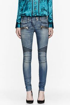 BALMAIN Blue ribbed biker jeans on shopstyle.com