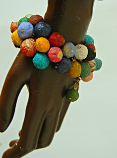 Recycled paper bead  multi color cluster braclet by DABANGAjewelry, $40.00