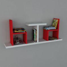 Detayları Göster Dekorister Sense Kitaplık - Beyaz - Kırmızı
