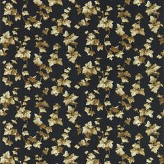Hedera Wallpaper A clambering trail of shiny copper ivy leaves on a ebony background, Such foliage designs originated in Victorian times with their love of bringing the outside indoors.
