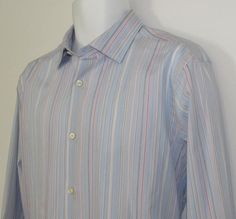 Banana Republic Fitted Shirt Stripped Woven in Italy sz 16 /16 1/2 Large NEW NWT #BananaRepublic