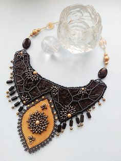 Beaded and leather necklace Palace por Krashevichbead en Etsy