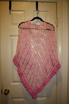 Cynthia's 60th b'day  Sunspree Shawl from Caron  Bernat Satin yarn 2 skeins. size I hook.