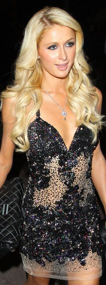 Paris Hilton mini dress #glitter
