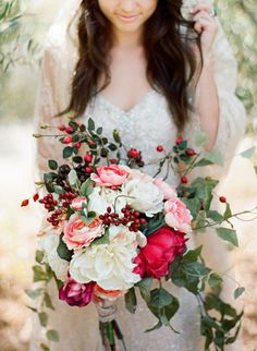 Romantic outdoor wedding, featuring lovely beaded Maggie Sottero wedding dress.