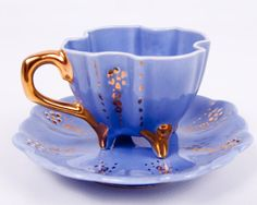 Wedgwood Blue Teacup Footed Demitasse Cup and Saucer ♥