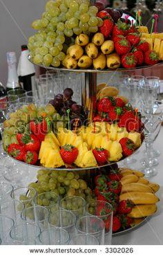 How to Display Fruit Kabobs   Fruit kabobs! We stuck them into a ...