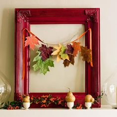 Find a fun vintage frame and attach some leaves with ribbon.