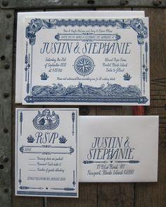 Rustic Nautical Custom Design Letterpress Wedding Invitation Suite