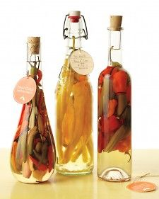 Homemade pepper vinegars as a DIY gift - from Martha Stewart Living