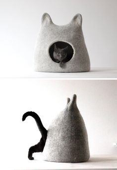 "Agnes Felt's colorful felted ""cat caves"" provide your feline with cozy places to sleep and stalk while incorporating a stylish, modern pet accessory into your home."