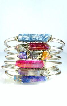 Raw crystal silver cuff bracelet.