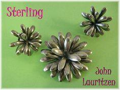 John Lauritzen John L ~ Denmark Sterling Silver Flower Brooch & Earrings Set