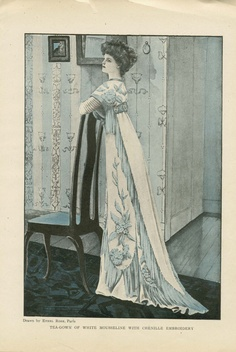 ANTIQUE 1908 HARPER'S BAZAR Colour Fashion Plate