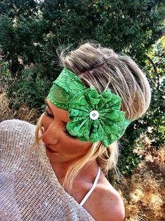 Stretch Lace Flower Headband GREEN Lace Fabric by ThreeBirdNest, $28.00
