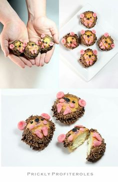 For all sweet-toothed cats on the next birthday, this idea is perfect. We - Muffins Kindergeburtstag - Kuchen Animal Cupcakes, Fun Cupcakes, Cupcake Cookies, Hedgehog Cupcake, Hedgehog Cookies, Food Humor, Cute Cakes, Creative Cakes, Cute Food