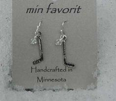 Min Favorit Hockey Girls Hockey Mom Bling Swarovski Crystal Silver Earrings on Ebay.  Only $4.99  Free Shipping!