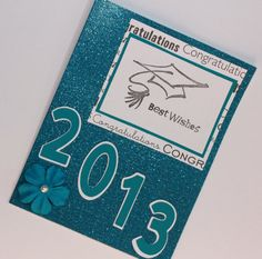 Shimmering blue 2013 Best Wishes handmade greeting card by AnLieDesigns, $2.50