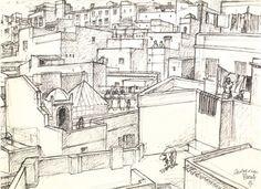 Peinture Algérie - Les terrasses de la casbah d'Alger by Charles Brouty