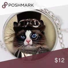 Cute Cat in the Hat Cabochon Silver New Cute Cat in the Hat Cabochon Silver New Cute Jewelry Necklaces