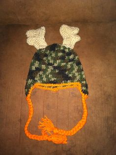 camo deer crochet hat