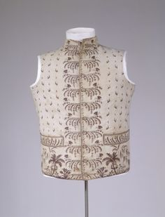 Waistcoat, printed cotton lined with linen, c. 1790, possibly made in Hamburg, Germany.