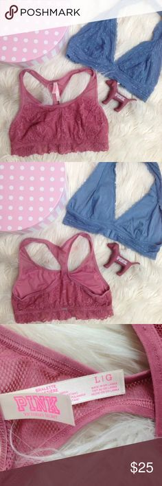 Victoria's Secret Charlotte Russe L bralette bras VS PINK DOG INCLUDED!  bras were worn once and in excellent condition!  the blue one is by Charlotte Russe  both are from this year.  dog is a hard plastic vinyl pink victoria's secret charlotte russe Intimates & Sleepwear Bras