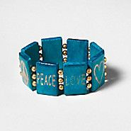 Peace & love bracelet also available in natural wood - Claire's