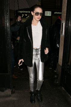 Gigi in silver pants