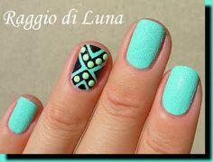 Tribal green neon nail art stud manicure (Raggio di Luna Nails)