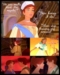 "Anya - *using a sweet, innocent voice* ""Dimitri, do you really think I'm royalty?"" Dimitri - ""Yes, of course I do."" Anya - *using a demanding voice* ""Then stop BOSSING ME AROUND! Disney Anastasia, Anastasia Film, Anastasia Musical, Anastasia Romanov, Anastasia Cartoon, Anastasia Cosplay, Anastasia Broadway, Walt Disney, Disney Magic"