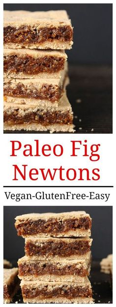 Paleo Fig Newtons- easy healthy sweetened only with fruit and so delicious! Vegan and gluten free. Paleo Fig Newtons- e Paleo Dessert, Vegan Desserts, Healthy Desserts, Dessert Recipes, Paleo Fruit, Jello Desserts, Potluck Recipes, Fruit Snacks, Rhubarb Desserts
