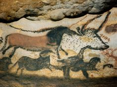 Ancient Artwork on the Walls of the Cave at Lascaux, France