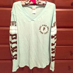 PINK long sleeve tee. Very soft material. Worn maybe two times at the most. The last picture is the most accurate coloring. PINK Victoria's Secret Tops Tees - Long Sleeve