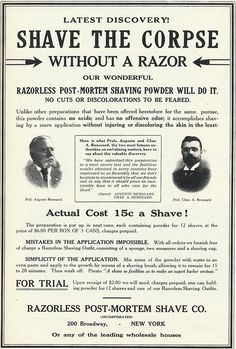 shave your corpse for only 15c with razorless post-mortem shaving powder
