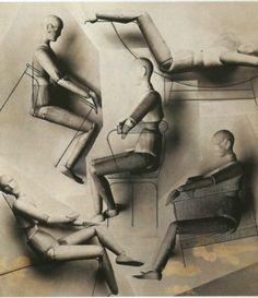 Charlotte Perriand - Etude ergonomique de sièges adaptés aux positions du mannequin, photomontages rehaussés d'encre de Chine et aérographe, 1928